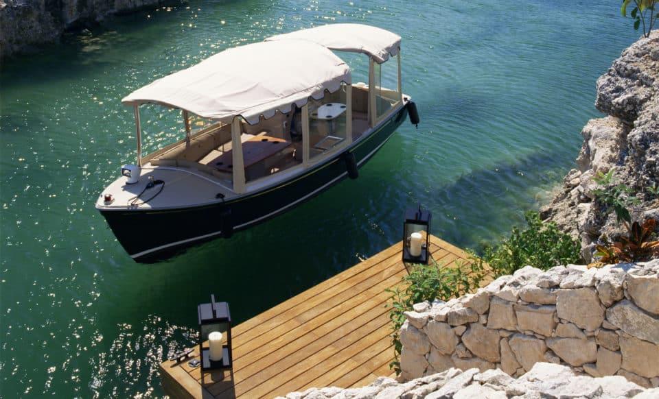 Rosewood Mayakoba Boat on Lagoon