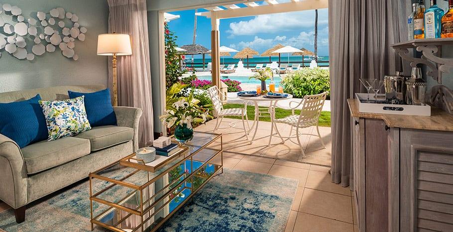 Sandals Grande Antigua Caribbean Honeymoon Beachfront Grande Luxe Walkout Club Level Room
