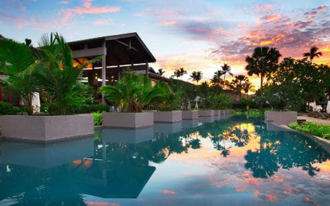 Kempinski Seychelles Olympic Length Swimmning Pool At Sunset