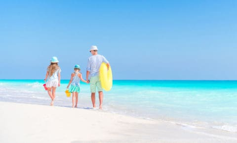 young children on the beach